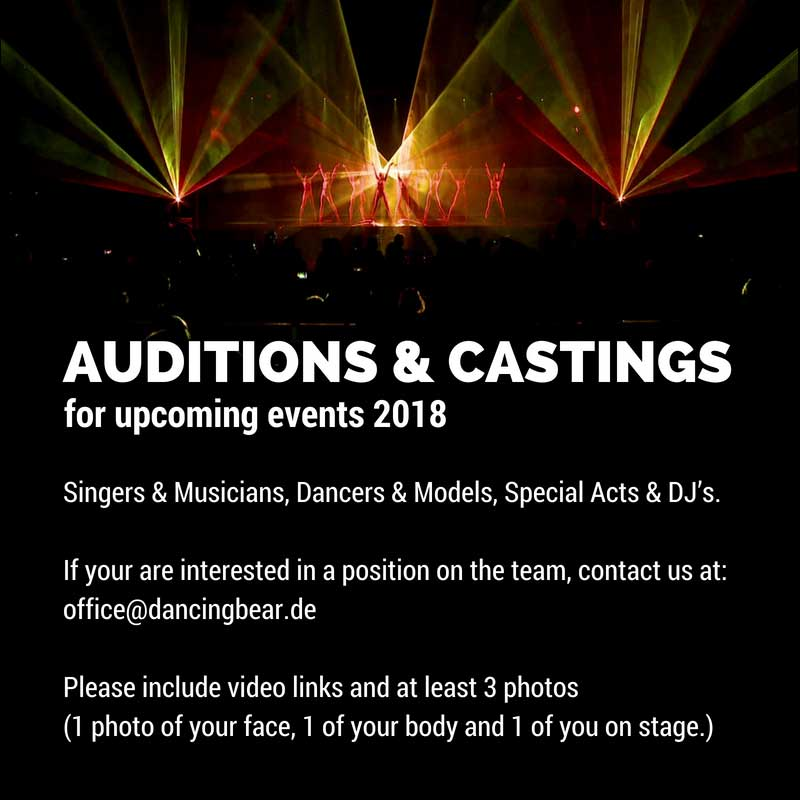 Audition and Castings for upcoming events 2018
